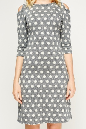 Cut Out Shoulder Polka Dot Dress
