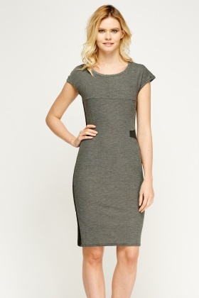 Insert Contrast Pencil Dress