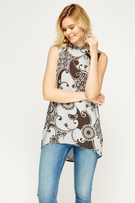 Mix Print Dip Hem Top