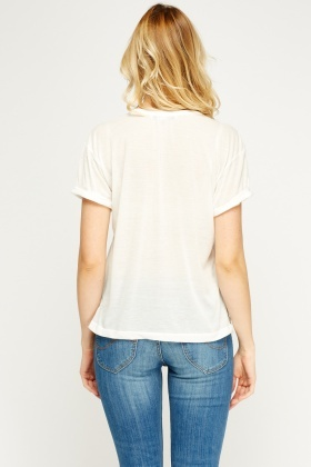 Painted Embossed White Top