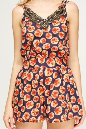 Printed Embellished Neck Playsuit
