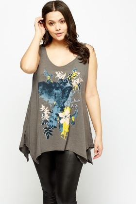 Printed Front Asymmetric Top