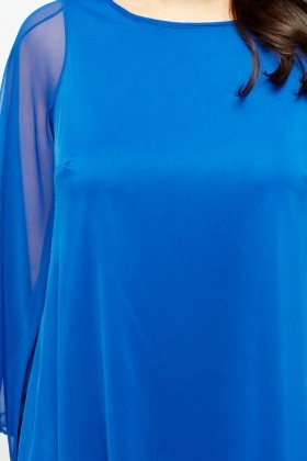 Royal Blue Asymmetric Side Top