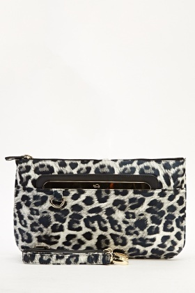 Animal Print Holographic Clutch Bag