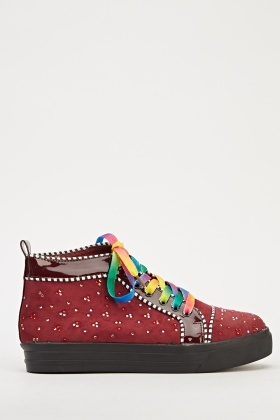 Embellished Rainbow Laced Trainers