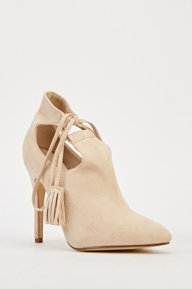 Tie Up Suedette Court Heels