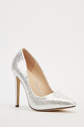 White Metallic Court Heels