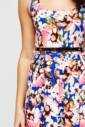 Floral Mini Swing Belted Dress