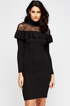 High Neck Ruffled Contrast Bodycon Dress