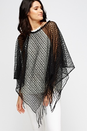 Metallic Insert Loose Knit Poncho