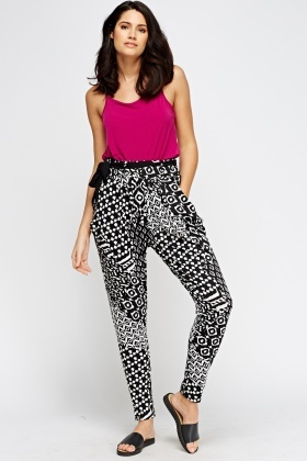 Mono Printed Tied Trousers