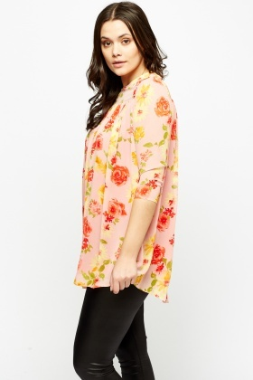 Pink Flower Print Tunic Top
