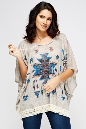 Printed Fringed Hem Box Top