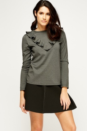 Charcoal Frilled Top