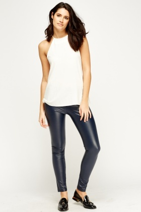 Faux Leather Elasticated Leggings