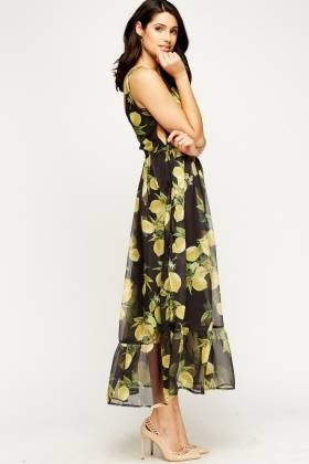 Flared Sheer Lined Maxi Dress