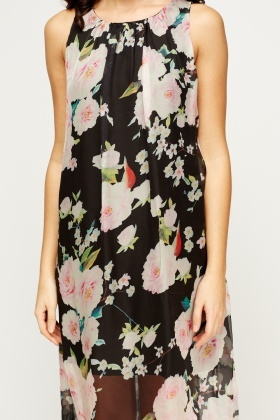 Sheer Floral Lined Maxi Dress