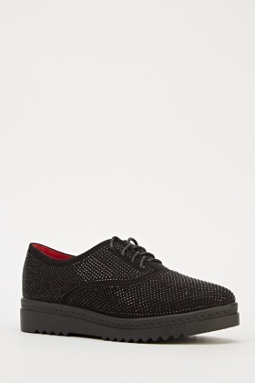 Encrusted Lace Up Trainers