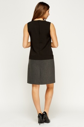 Contrast Panel Formal Dress