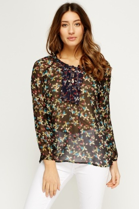 Floral Long Sleeve Sheer Blouse