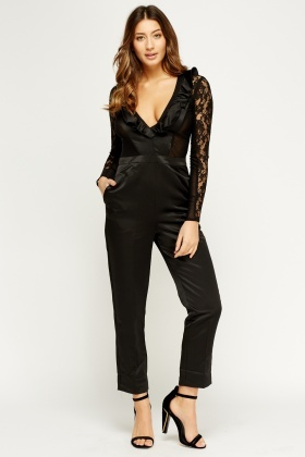 Laced Sleeve Contrast Plunge Jumpsuit