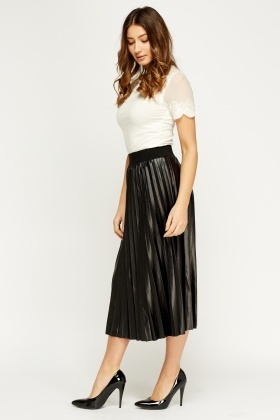 Pleated High Waisted Midi Skirt