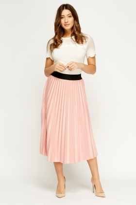 Pleated High Waisted Midi Skirt - Just £5