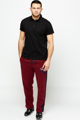 Striped Side Burgundy Joggers