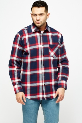Checkled Fleece Navy Shirt
