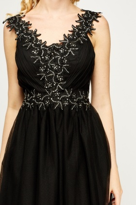 Diamante Encrusted Plunge Dress