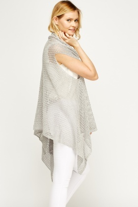 Fish Knit Asymmetric Cardigan