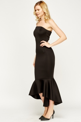 Flare Hem Bandeau Maxi Dress