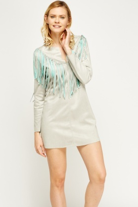 Fringed Suedette Dress