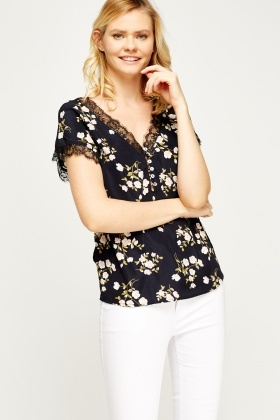 Lace Trim Floral Blouse