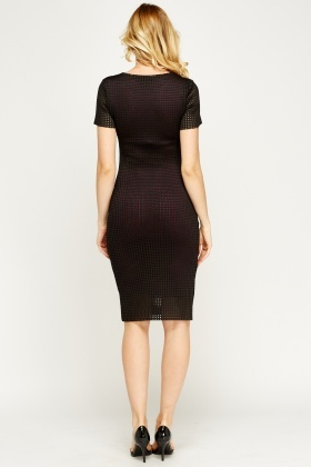 Mesh Overlay Pencil Dress
