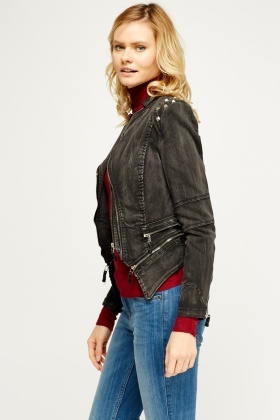 Studded Black Denim Biker Jacket