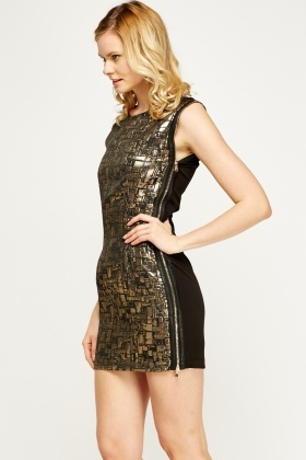 Zipped Side Metallic Mini Dress