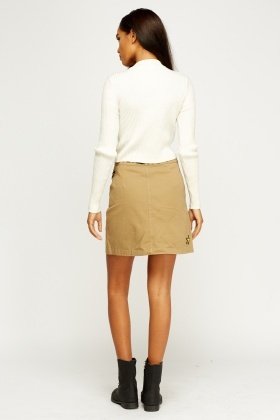 Badged Embroidered Mini Skirt