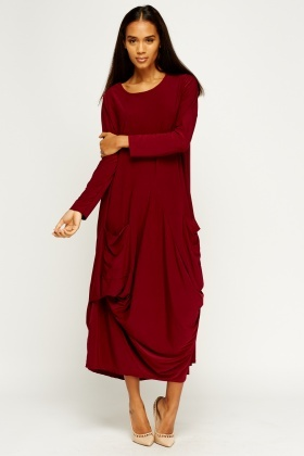 Balloon Drape Maxi Dress
