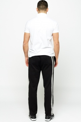 Striped Side Black Joggers