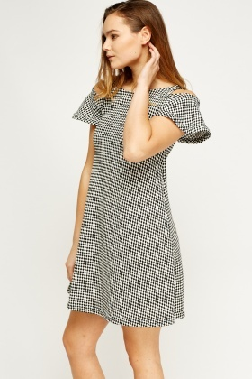 Cold Shoulder Chess Print Skater Dress