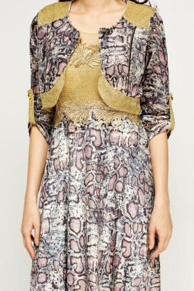Metallic Velveteen Printed Bolero Dress