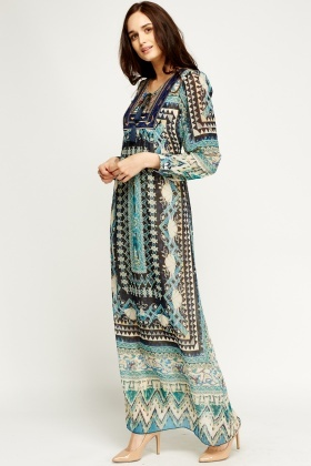 Mixed Print Sheer Maxi Dress