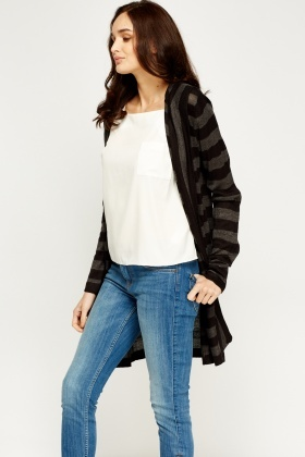 Open Front Stripe Long Cardigan