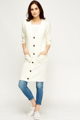 V-Neck Knitted Longline Cardigan - Just £5