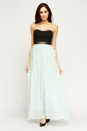 Chained Embellished Bandeau Maxi Dress