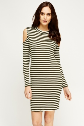 Cold Shoulder Midi Striped Dress