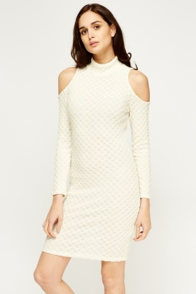Cold Shoulder Zig-Zag Metallic Dress