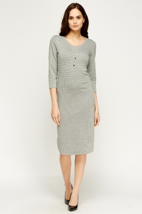 Houndstooth Print Midi Dress