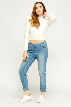 Washed Denim Cotton Jeans